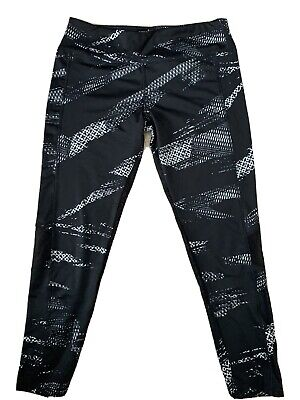 LULULEMON UK 12/14 Running Tight/Gym Legging 7/8 Ankle Black/Grey Geometric