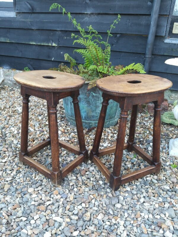 A Super Pair Of Genuine Victorian Oak Joint Stools