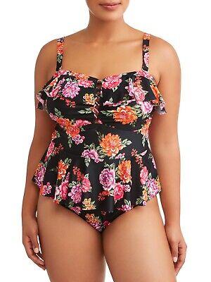 Terra & Sky Floral Peplum Tummy Control One Piece Swimsuit Plus Size 4X 28W-30W (Peplum One Piece Swimsuit)
