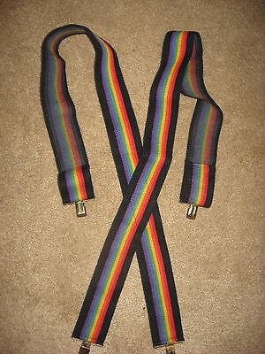 Mens / Womens Rainbow Gay Pride Elastic Stretchy Suspenders
