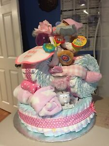 Custom Diaper Cake various sizes & Fleece Tie Blankets