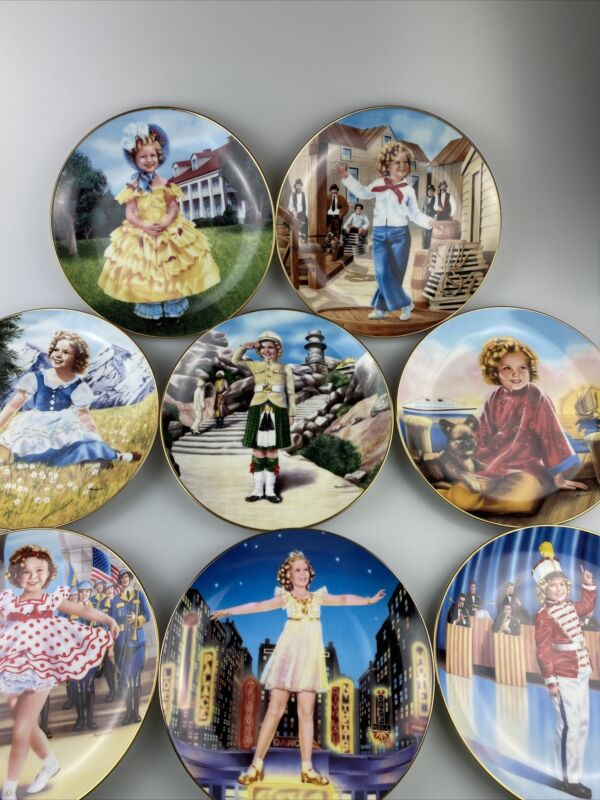 "Shirley Temple Danbury Mint 8"" Collectible Plates Lot of 8"