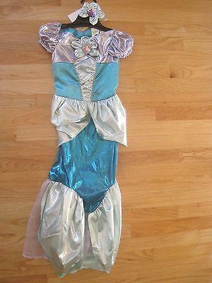 HALLOWEEN DISNEY MERMAID ARIEL METALLIC TURQUOISE BLUE DRESS COSTUME EUC 4 5 6