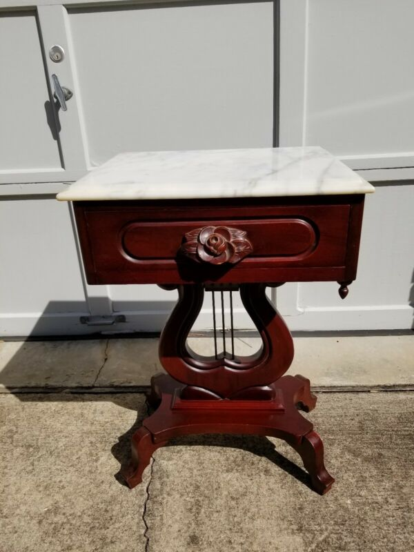 Vintage Mahogany Rose Carved Lyre Base Italian Marble Top By Victorian #413
