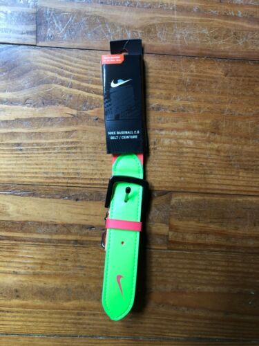 "NIKE BASEBALL BELT YOUTH SIZE NEON ADJUSTABLE SIZE 20""-34"""