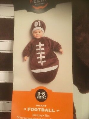Infant FOOTBALL Costume w Hat Baby Bunting 0-6 months Halloween, Super Soft NWT
