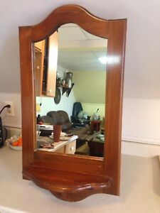 Good Size Vintage Pine Mirror With Candle/Plant Shelf