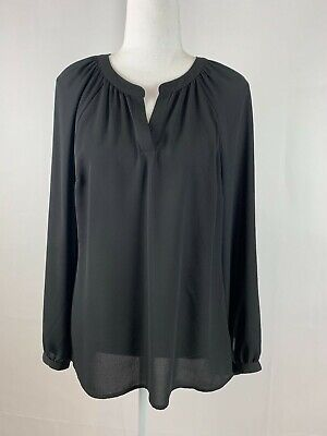 Express Women's Blouse Long Sleeve Sheer Black Tunic Slip On Size Medium