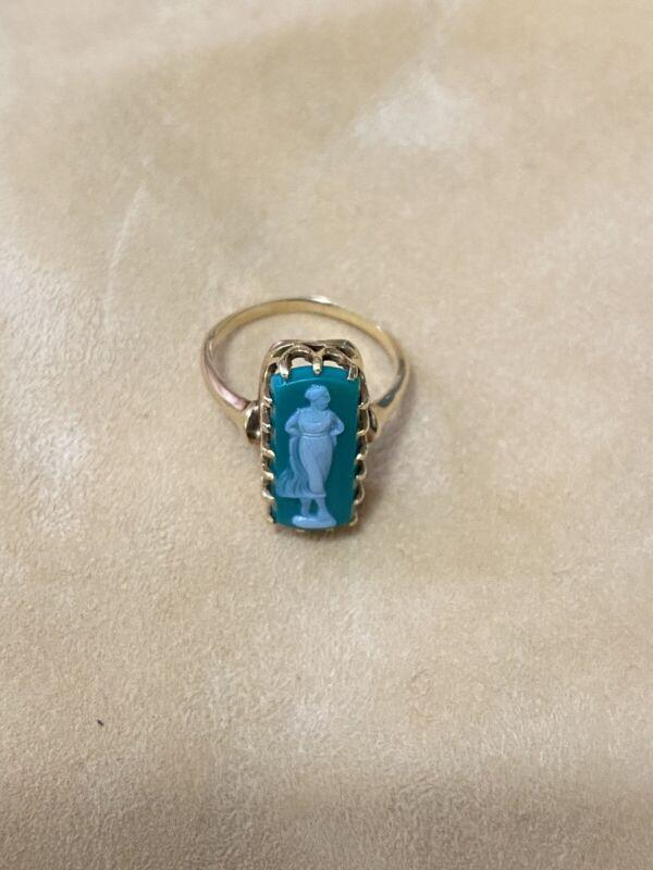 Antique-Vintage 14k gold Cameo Ring.Size 41/2