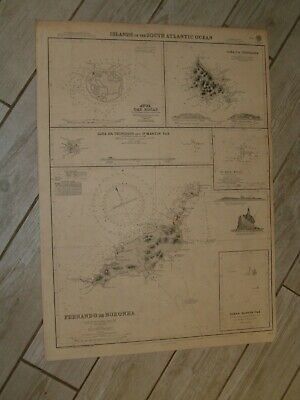 Vintage Admiralty Chart 388 ISLANDS IN THE SOUTH ATLANTIC OCEAN 1940 edn