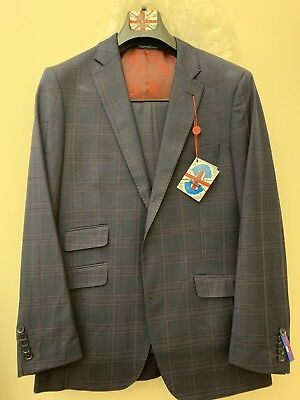 English Laundry Navy Blue With Burgundy Plaid Suit Size 40 Regular Slim Fit - Burgundy Suit