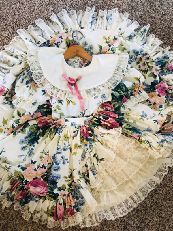 VTG Emmas Rainbow 6 Dress Floral Frilly Lace Full Circle Party Pageant Girls USA