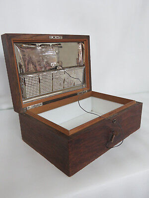 Early 1900s Oak Tabletop Cigar Tobacco Humidor Chest Box 054B
