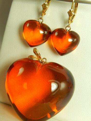 14k Large HONEY AMBER PENDANT EARRINGS Set Lever Back For Necklace Vintage GREAT