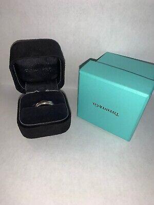 Tiffany & Co Platinum Mens 6 MM Double Milgrain Wedding Band Size 8.5 $2525 -