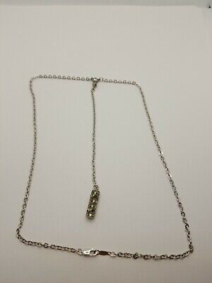 """Sterling Silver Square Cut Marcasite """"Y"""" 16.5"""" Necklace"""