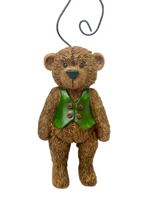 Teddy Bear Green Vest With Buttons Christmas Ornament Metal Twist Hanger