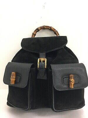💯Authentic Vintage Gucci Suede black leather Bamboo handle medium backpack