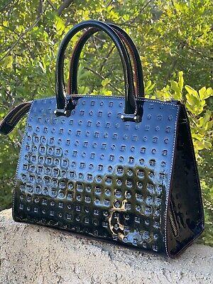 Arcadia black patent leather bag