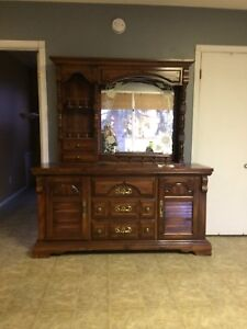 Vintage dresser with mirror and night stand