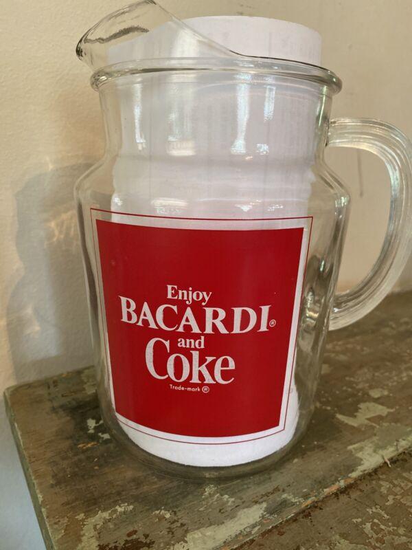 NEW advertising Barware mancave  Coca Cola Bacardi Rum Glass Pitcher