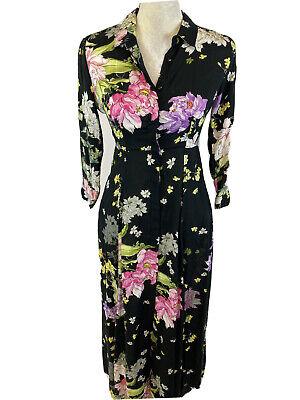 NEW Zara Premium Women's Black Floral 3/4 Sleeve Long Shirt Dress XS
