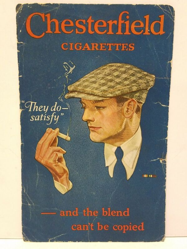 LARGE Vintage CHESTERFIELD CIGARETTES They Do Satisy ADVERTISING INK BLOTTER