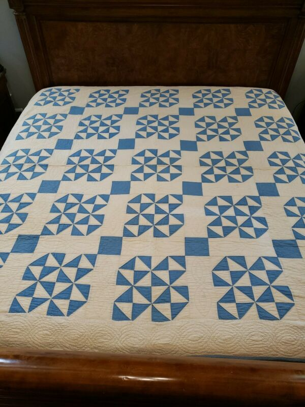 """Exceptional Antique Hand-Stitched Blue Quilt Never Washed Pencil Lines 84""""× 83"""""""