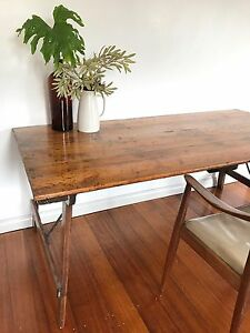 Vintage industrial trestle dining table 70Yrs old desk retro Oakleigh South Monash Area Preview