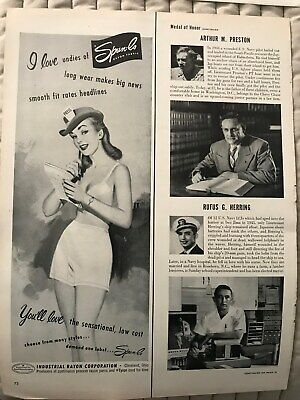Spun-lo Rayon Fabric~Woman In Long Wear Panties~1951 Vintage Print AD A48
