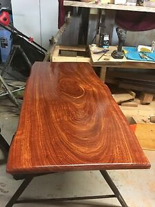 Handcrafted timber slab table with repurposed saw horse legs Hamilton Newcastle Area Preview