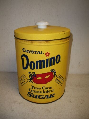 Vintage CRYSTAL DOMINO Pure Cane Sugar Tin Container