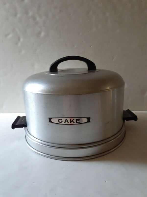 "Kromex Vintage Aluminum Cake Carrier/Plate 11"" Round w Lid Locking Handles"