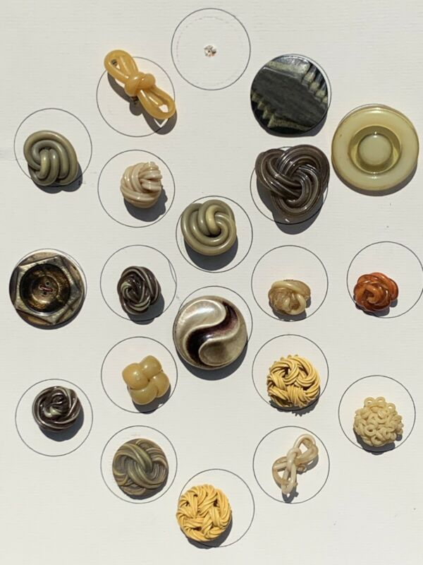 Collection Of Celluloid Buttons Extruded Tight Top And Carved