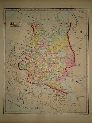 Antique 1856 Hand Colored RUSSIA MAP Old Authentic Vintage Atlas Map