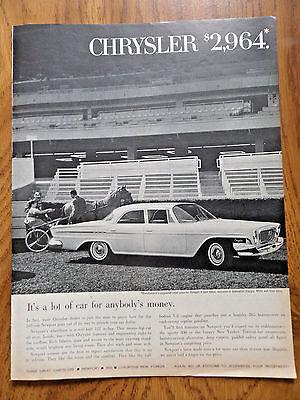 1962 Chrysler Newport 4 Door Sedan Ad  $2964 at the Race Track Trotters