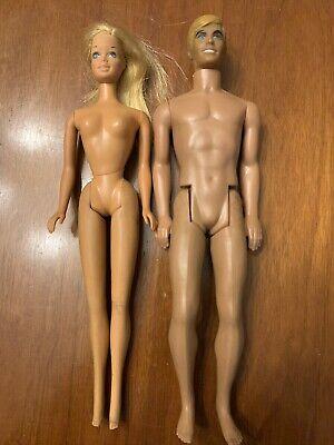 Vtg. Lot 2 Malibu Barbie Ken 1966 1968 Mod Blonde Molded Dolls Twist Turn