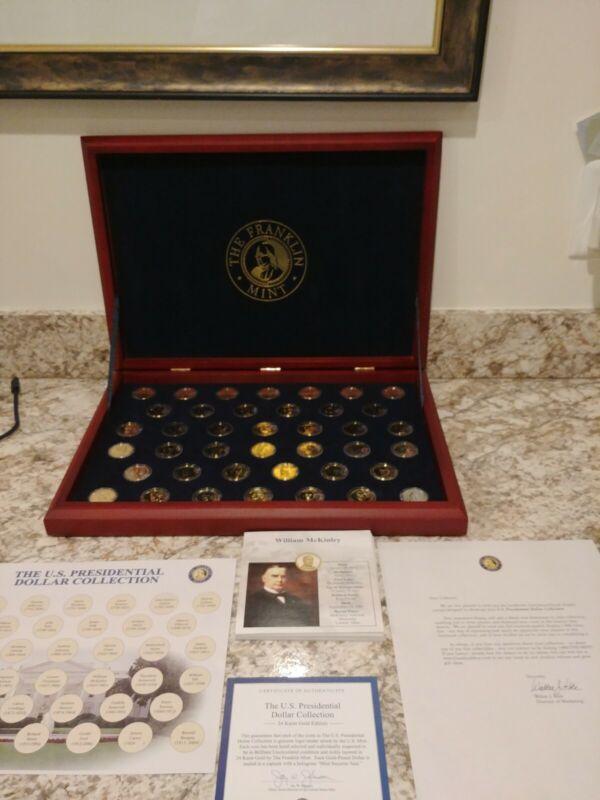 The U.S. Presidential Dollar Collection -24 Karat Gold Edition- Franklin Mint