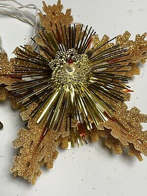 Vintage Glitter Light-up Christmas Tree Star Top Of Tree Holiday Decor