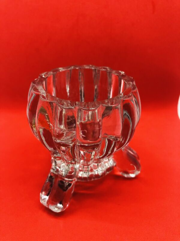 Crystal Tulip Candle Holder Footed  Crystal Votive Cup Tea Light Glass USA