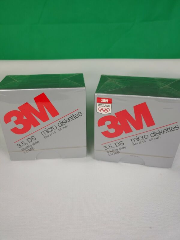 2 X 3M DS DD 3.5in Diskettes Formatted IBM Double Sided New Sealed Vintage 1987