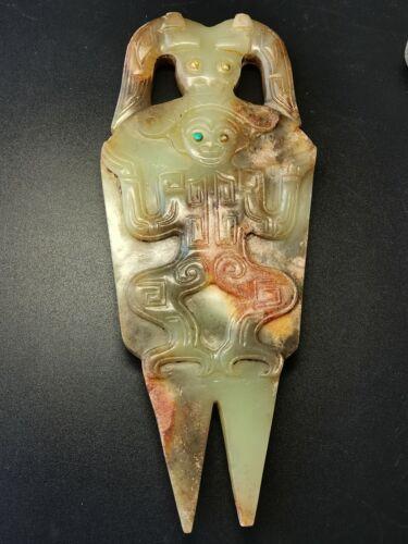 Chinese Jade Amulet Dragon&God face Green Jade plaque inlaid GEM Token