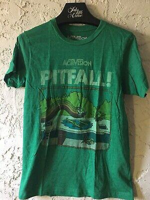 Activision PITFALL Atari 2600 Classic Green Graphic T-Shirt Retro Gaming SMALL