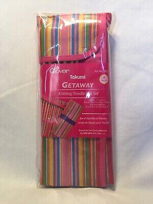 Clover Takumi Getaway Bamboo 9 Inch Single Point Knitting Needle Set 7 sizes new Getaway Takumi Single