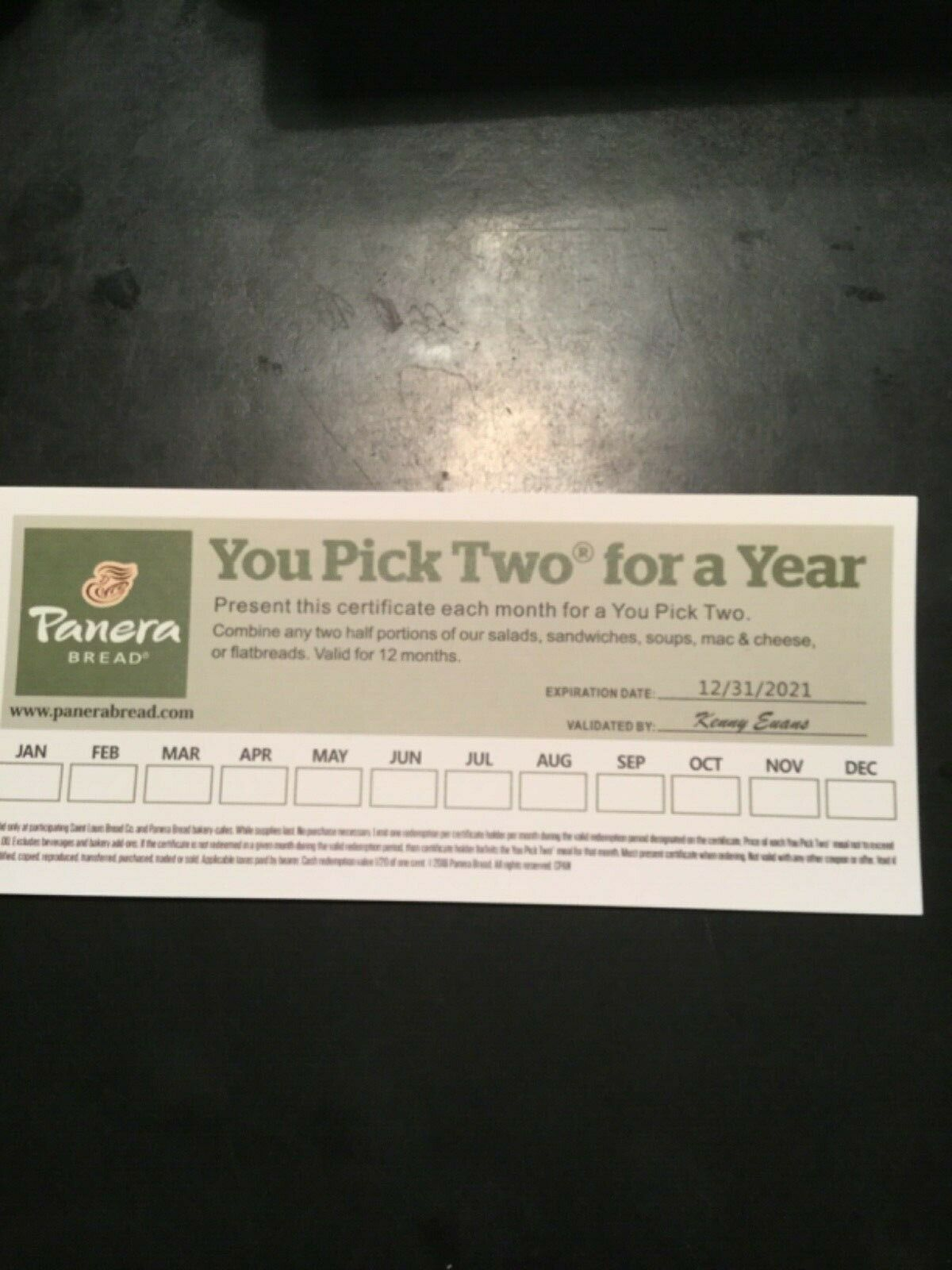 PANERA BREAD GIFT CARD PAPER YOU PICK TWO FOR A YEAR 12/31/21 Expiration  - $59.99