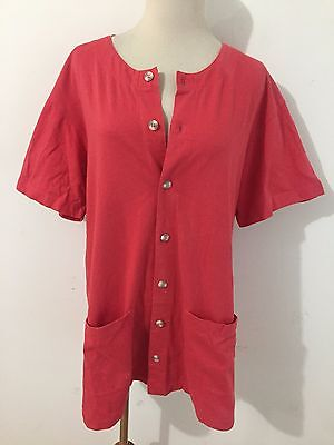 CHICO'S DESIGN Button Front Tunic Top Red Cotton Knit Size 1