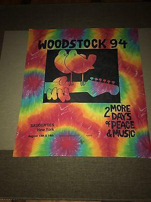 Rare Original 1994 Woodstock Saugerties Printed Tie Dye Banner  - Woodstock Banner