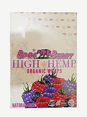 High Hemp Organic Wrap 25 Pouch in Box 2 in a Pouch 50 Wraps NEW Bare Berry