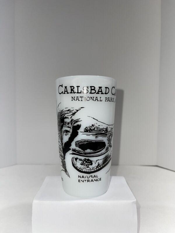 RARE Vintage Carlsbad Caverns National Park New Mexico White Souvenir Glass