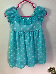 Baby blue and white poke a dot baby dress 12-18 months